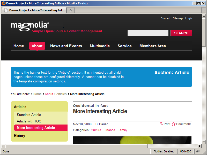 Updated Magnolia CMS article viewed via the public instance